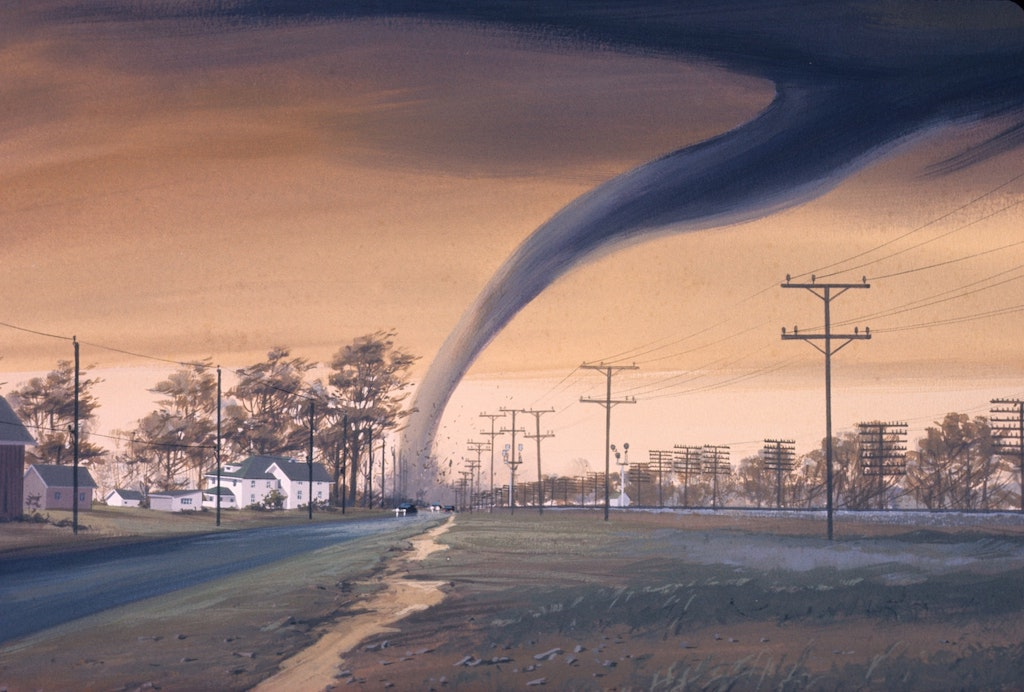 Artist's rendition of a tornado destroying a structure
